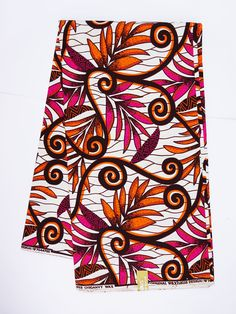 Ankara african fabric by the yard wax print  fabric african fashion Nigerian Ghanaian White  fabric by the yard floral pattern pink flowers