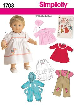 """Simplicity : 1708 circa 1950 15"""" doll clothes (but why is the boy Bitty Twin modeling them?!?!)"""