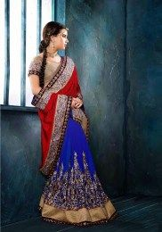 Designer Red & Blue Color Party Wear Saree
