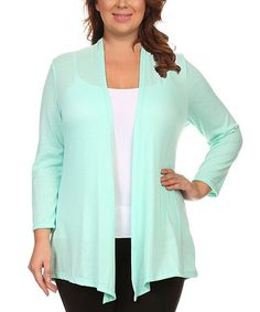 Another great find on #zulily! Mint Open Cardigan - Plus #zulilyfinds