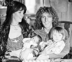 Heather, Roger, Rosie Lea, and Willow Daltrey {1975}