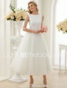 996ed8a6cabd7 A-Line Princess Bateau Neck Tea Length Tulle Sequined Custom Wedding  Dresses with Sequin Lace