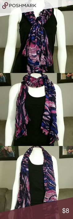 Multitone Scarf by Cynthia Rowley Multitone Scarf by Cynthia Rowley. Pretty colors of deep purple, blue, burgundy and dusty rose. Colors shown best in photos 1-3. Last photo shows close up of the only pull/run I noted on the scarf.   Bundle items & SAVE on shipping!! Cynthia Rowley Accessories Scarves & Wraps
