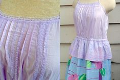 Vintage Inspired Sundress -L/XL - Flirty Upcycled Chemise Dress  Hawaiian Print.  $55.