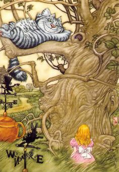 Alice in Wonderland:  Alice and the Cheshire Cat.