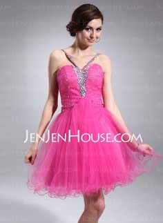 Homecoming Dresses - $127.99 - A-Line/Princess V-neck Knee-Length Tulle Homecoming Dress With Ruffle Beading (022010198) http://jenjenhouse.com/A-Line-Princess-V-Neck-Knee-Length-Tulle-Homecoming-Dress-With-Ruffle-Beading-022010198-g10198