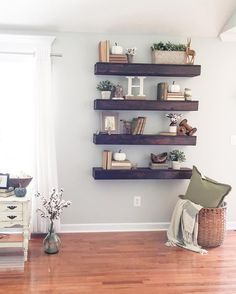 6 Spiritual Cool Tips: Floating Shelves With Tv Fire Places floating shelves tv stand tv shelf.Floating Shelves Modern Home Office floating shelf decor fireplace mantels.How To Hang Floating Shelves Couch. Floating Shelves Bedroom, Rustic Floating Shelves, Bedroom Shelves, Floating Desk, Room Wall Decor, Living Room Decor, Living Rooms, Mud Rooms, Laundry Rooms