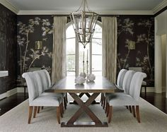 Sherrill Canet - Interior Designer - New York - Asian - Transitional - Dining Room - Neutral - Brown - Bamboo - Wallpaper - Upholstered Chair - Lantern - Candles - White
