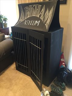 Arkham Asylum double cell for my son's Batman birthday party.