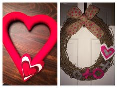 Valentines wreathes - one w yarn and felt the other with burlap and felt. Quick for the holiday ...