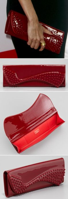"Emma Heming Carries Christian Louboutin ""Pigalle"" Spikes Patent Clutch Bag"