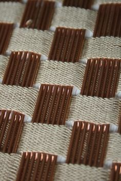copper weaving - textile design by Sarah Poley