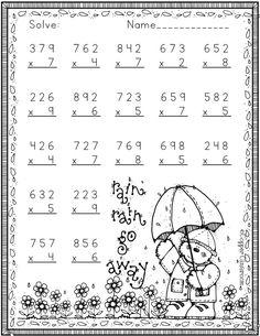 4th Grade Multiplication Worksheets, Kids Math Worksheets, 2nd Grade Math, Math Resources, Math Activities, Math Exercises, Math Board Games, Math Sheets, Dear Students