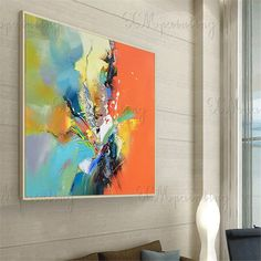 Original acrylic Abstract paintings on canvas wall art pictures for living room home decor gold blue orange thick texture quadros decoracion Abstract Flowers, Abstract Art, Abstract Paintings, Flower Painting Canvas, Wall Art Pictures, Art Auction, American Art, Canvas Wall Art, Acrylic Canvas