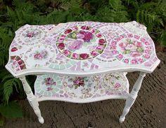 Fabulous Pink Roses Shabby China Mosaic Tile Table by hillspeak, via Flickr