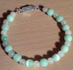 "Mint & Cream Beaded Bracelet 7 1/2"" $10"