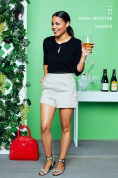 "8 Fresh Outfit Ideas For EVERY Summer Scene #refinery29  http://www.refinery29.com/erica-lavelanet-outfits#slide1  The Scene: Sipping on refreshing roséHer Must-Have Piece: High-waisted shorts  Sunday Funday gets a major upgrade when you switch from beer gardens to vineyards. Naturally, your wardrobe should get a boost, too. ""I love anything high-waisted — it's so on trend,"" says Lavelanet. ""High-waisted shorts are perfect for an event that's a step above casual. Whether you pair them with a…"