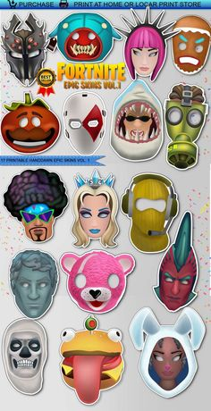 Printable Fortnite EPIC SKINS booth props 17 PCS, Fortnite, Fortnite Source by rodrigomanuelt 11th Birthday, Birthday Fun, Birthday Parties, Dinner Party Games, Sleepover Party, Craft Party, Birthday Party Decorations, Party Printables, Party Time
