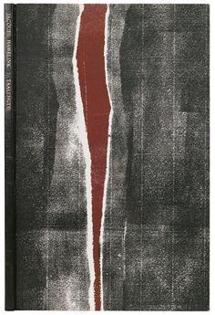 Band van zwart geitenleer en sierpapier in zwart en roodbruin, 1974.