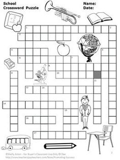Back to School Crossword Puzzle-Crossword with clues to 15