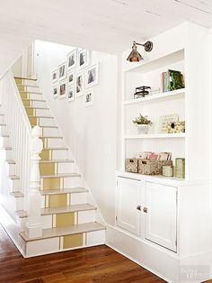 What a great idea to spruce up your stairway, paint a running stripe on the risers.