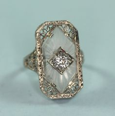 Art Deco Diamond Ring Camphor Glass 14K White by PastSplendors, $999.00