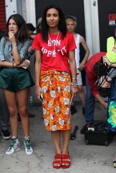 PJs on top/Party on bottom | Chioma Nandi, Vogue | Proenza skirt, Marni shoes | Essence Magazine Street Style (NYFW SS13)
