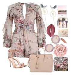 """""""..."""" by pnrcalis ❤ liked on Polyvore featuring Zimmermann, WALL, Gianvito Rossi, Yves Saint Laurent, Miu Miu, Lime Crime, Unicorn Lashes and Polaroid"""