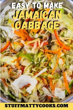 This Jamaican Steamed Cabbage Recipe is quick and easy to make and goes with everything. It is also Keto,Paleo and Weight Watchers Smartpoints Friendly Jamaican Steamed Cabbage Recipe, Jamaican Cabbage, Cooked Cabbage Recipes, Jamaican Dishes, Jamaican Recipes, Vegetable Recipes, Vegetarian Recipes, Cooking Recipes, Healthy Recipes