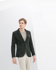 ZARA - BLAZER WITH SLIT AND ELBOW PATCHES