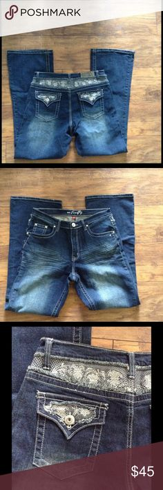 Ms.Firefly Size 14 Jeans Dark Wash boot Cut These Jeans are in excellent condition.Very minor wear to the cuffs from wearing.All jewels and lace attached.Check out my other items and make a bundle Ms.Firefly Jeans Boot Cut