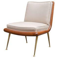T.H. Robsjohn-Gibbings for Widdicomb Walnut and Brass Slipper Chair ca.1950's