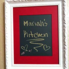 DIY Chalkboard:   Just took a simple frame, some matting, and chalkboard paper I found at Michael's. Grab some chalk and get to writing! Easy 5 min craft