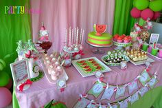 Dessert Table at a Strawberry watermelon party #strawberry #watermelon