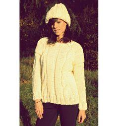 Sweter  Ecru Handmade Z Wełną Knitwear Hand Knit