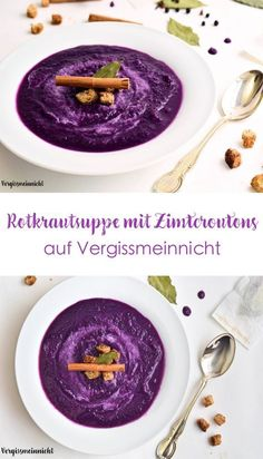 delicious red cabbage soup with winter spices from my mom Red cabbage soup with cinnamon croutons! The soup not only tastes very good and is reminiscent of w cabbage delicious Mom red soup spices winter winterbastelnkinder wintercoffee winterdeko wint Casserole Recipes, Soup Recipes, Vegan Recipes, Cabbage Recipes, Red Cabbage Soup, Vegetarian Breakfast, Vegan Soup, Cheesecake Recipes, Food Inspiration