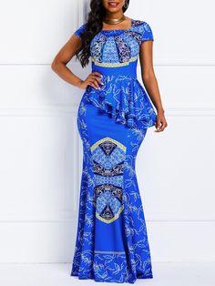 Women Maxi Dresses Casual Elegant Blue Office Lady Party Mermaid Square Neck High Waist Falbala Print Female Plus Size Dress at Diyanu Latest African Fashion Dresses, African Print Dresses, African Dresses For Women, African Print Fashion, African Attire, African Women, Africa Fashion, Dress Fashion, Fashion Outfits