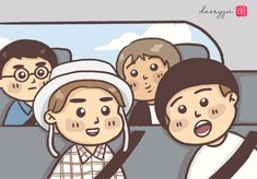 Chen, Suho, Kai, and D.O in a car together Suho, Chen, My Drawings, Kai, Fanart, Family Guy, Fictional Characters, Fan Art, Fantasy Characters