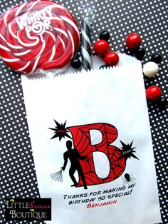 Spiderman Birthday Party Superhero Candy by LittlebeaneBoutique, $19.00