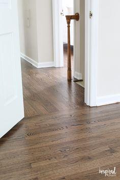 My Refinished Hardwood Floors (Dark Walnut Stain) Refinshing my Hardwood Floors with Walnut Stain Refinished Hardwood Floors with Dark Walnut Stain and Satin Poly Finish Dark Walnut Floors, Walnut Hardwood Flooring, Red Oak Floors, Dark Walnut Stain, Plywood Floors, Laminate Flooring, Plywood Furniture, Furniture Design, Red Oak Stain