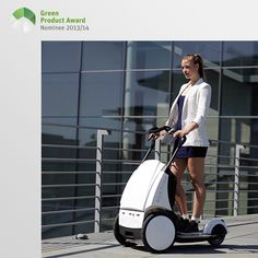 5th place Newcomers Green Product Award 2013/14, category mobility: The kickTrike is a small, 3-wheeled electric scooter with an easy to fold-up foot board. Having the load platform between the front-wheels enables easy transport of small boxes or parcels in city areas. The kickTrike can be easily folded to facilitate traveling on buses and trains and to be placed in tight spaces like cars. The maximum load capacity is 170 kg, more than one person and two large bottle crates (10 x 1.5…