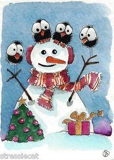 ACEO Original Painting Folk Art Christmas Tree Winter Snow Bird Crows Snowman | eBay