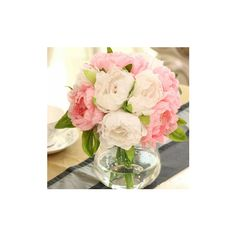 10 Heads Artificial Silk Flower Peony Wedding Bouquet Party Home... ($8.09) ❤ liked on Polyvore featuring home, home decor, floral decor, pink, silk flowers, fake flowers, artificial flowers, artificial silk flowers and silk flower arrangement