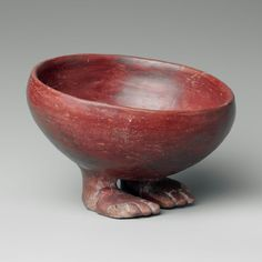Bowl with human feet in red polished ware, Egyptian, Predynastic, 3750-3550 B.C.