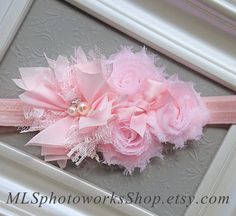 Pinkalicious Baby Girl Headband - Soft Flower Hair Bow in Light Pink for Babies, Toddlers and Girls - Available on Band or Clip