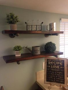 Rustic Floating Wood Shelves with Industrial Pipe Brackets by michaellarsen on Etsy Reclaimed Wood Floating Shelves, Floating Shelves Bathroom, Rustic Shelves, Wood Shelves, Farmhouse Shelving, Decorative Shelves, Wall Shelving, Farmhouse Decor, Pipe Shelves