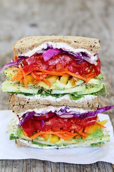 Rainbow Vegetable Sandwich Recipe on twopeasandtheirpod.com This colorful veggie…