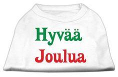 Mirage Pet Products Pet Dog Hyvaa Joulua Screen Print Shirt Dress Costume White Large - 14