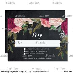 wedding rsvp card burgundy floral chalkboard