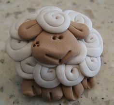 sheep pinback brooch or pin button